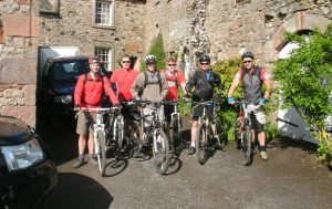 Cyclists on  C2C route at Motherby House